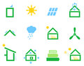 Passive house icons energy efficient houses set vector illustration Stock Photo