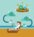 Passive income businessman at the beach receive money from cloud flat design elements vector illustration Stock Images