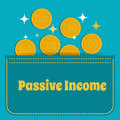 Passive income. Gold coins fall into the pocket. Flat design. Royalty Free Stock Photo