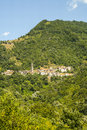 Passo del cirone tuscany emilia forest and villages parma italy mountain landscape at summer Stock Photography