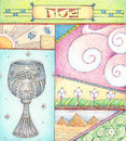 Passover greetings colored pencils greeting card for Stock Photo