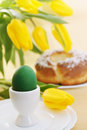 Passover holiday still life eggs flowers and cake Royalty Free Stock Photos