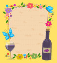 Passover invitation flowered frame with matzo texture in the center and a bottle and wine glass in the bottom corner eps Stock Image