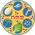 Passover plate and its symbols eps Royalty Free Stock Photography