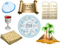 Passover symbols pack vector illustration of objects related to the jewish holiday Stock Photo