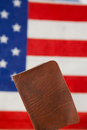 Passport against American flag background Royalty Free Stock Photo