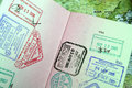 Passport with Asian Travel Stamps Stock Photography