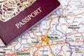 Passport and Berlin Map