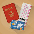 Passport boarding pass ticket bank card Royalty Free Stock Photo