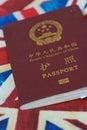 Passport on Britsh flag Royalty Free Stock Photo