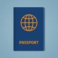 Passport closed flat illustration