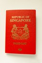 Passport closeup view of a red singapore Stock Images
