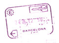 Passport customs entry stamp in the airport of Barcelona, Spain Royalty Free Stock Photo