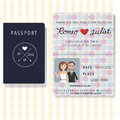 Passport design wedding invitation cards with bride and groom .