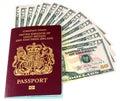 Passport and Dollars Royalty Free Stock Photo