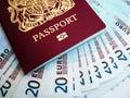 Passport and Euros Royalty Free Stock Photo