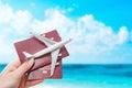 Passport flight fly travelling travel citizenship concept Royalty Free Stock Photo