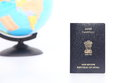 Passport and globe on white background Stock Photography