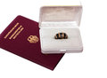 Passport and Golden Ring Stock Images