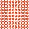 100 passport icons hexagon orange