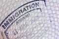 Passport page stamp immigration close up Royalty Free Stock Photo