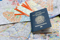 Passport maps and tickets on the table Royalty Free Stock Photo