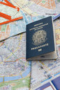 Passport maps and tickets on the table Royalty Free Stock Photos