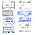 Passport stamp: Peru, Egypt, Germany, Hungary, etc Royalty Free Stock Photos