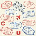 Passport stamp set Royalty Free Stock Photo
