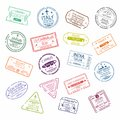 Passport stamp or visa signs for entry to the different countries. International Airport symbols