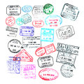 Passport stamps  isolated on white Royalty Free Stock Photo