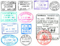 Passport stamps and visa's Royalty Free Stock Photo