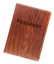 Passport in a stylish brown leather cover isolated on white background Stock Image