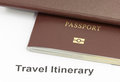 Passport on travel itinerary paper. Royalty Free Stock Photo