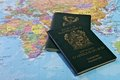Passport travel south african on a world map Royalty Free Stock Image