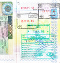 Passport with UK visa and stamps of Cyprus, Ireland Royalty Free Stock Photo