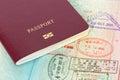 Passport and visa immigration stamps