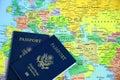 Passports on map-1 Royalty Free Stock Photo