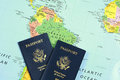 Passports on map-3 Royalty Free Stock Photo
