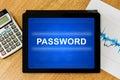 Password on digital tablet Royalty Free Stock Photo