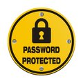 Password protected circle signs suitable for security Stock Photo