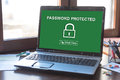 Password protected concept on a laptop screen Royalty Free Stock Photo