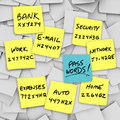 Passwords Written on Sticky Notes Stock Photos