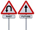 Past and future conceptual road signs on the the Royalty Free Stock Image