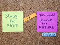 Past and future famous confucius s quote interpretation with sticker notes on cork board Stock Photo