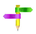 Past and future pencil banner illustration design over a white background Stock Photo