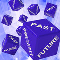 Past, Present, Future Dice Showing Forecasts Royalty Free Stock Image
