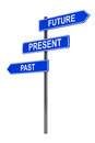 Past present and future road sign on a white background Stock Images