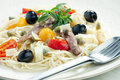 Pasta with anchovies Royalty Free Stock Image