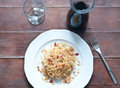 Pasta with anchovies and breadcrumbs, typical of Sicily Royalty Free Stock Photo